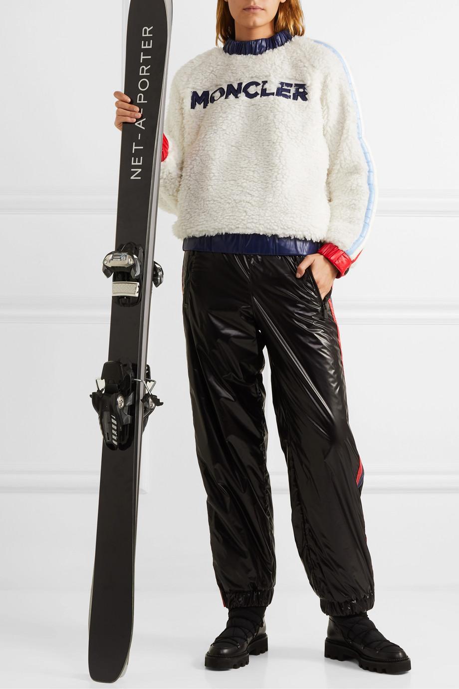Moncler Grenoble 软壳面料边饰贴花人造羊毛皮毛衣