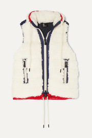Shell-trimmed shearling vest