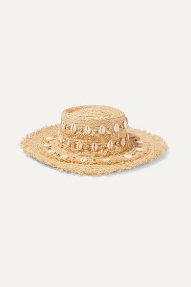 AQUAZZURA | Aquazzura - + Le Ninè Riviera Embellished Frayed Raffia Hat - Beige | Goxip