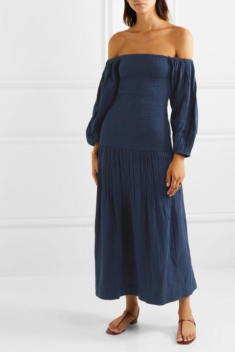 Harper off-the-shoulder smocked cotton-gauze maxi dress