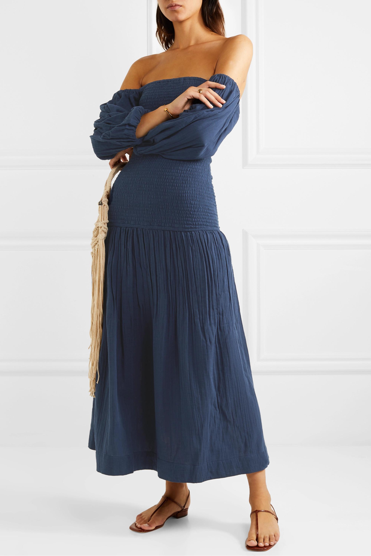 Rhode Harper off-the-shoulder smocked cotton-gauze maxi dress