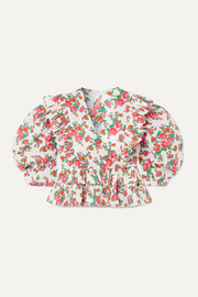 Elodie cropped ruffled floral-print cotton-voile blouse