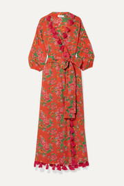 Lena tassled floral-print cotton-voile wrap maxi dress