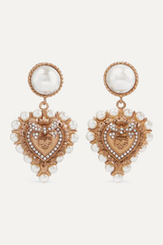 Dolce & Gabbana Gold-tone, faux pearl and crystal clip earrings
