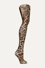 Dolce & Gabbana Leopard-print tulle tights