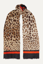 Leopard-print modal and cashmere-blend scarf