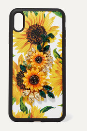 Dolce & Gabbana Embellished floral-print textured-leather iPhone XS Max case
