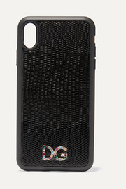 Dolce & Gabbana Crystal-embellished lizard-effect leather iPhone XS Max case