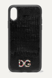 Dolce & Gabbana Crystal-embellished lizard-effect leather iPhone X and XS phone case