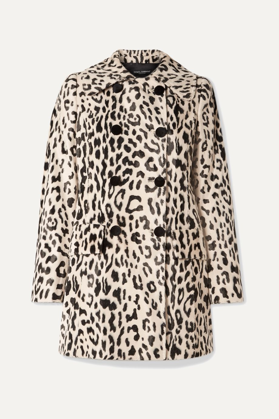 Dolce & Gabbana Double-breasted leopard-print faux fur coat