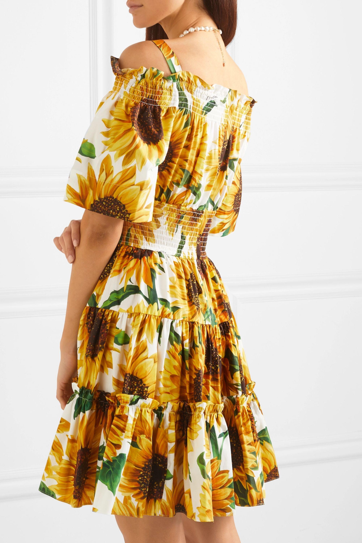 Dolce & Gabbana Cold-shoulder tiered floral-print cotton-poplin mini dress