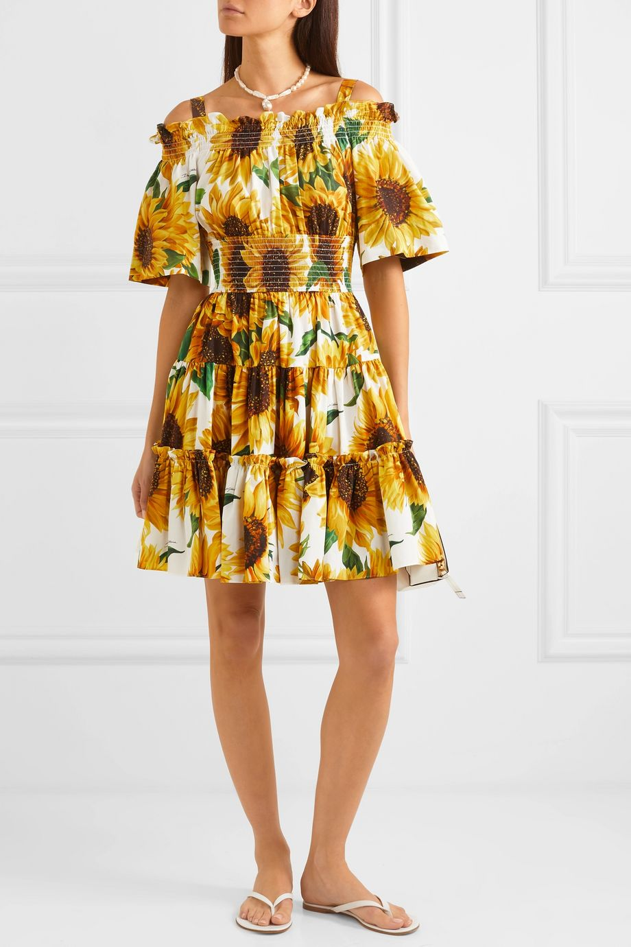Dolce & Gabbana Cold-shoulder tiered floral-print cotton-poplin mini dress