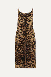 Dolce & Gabbana Leopard-print silk-blend satin midi dress