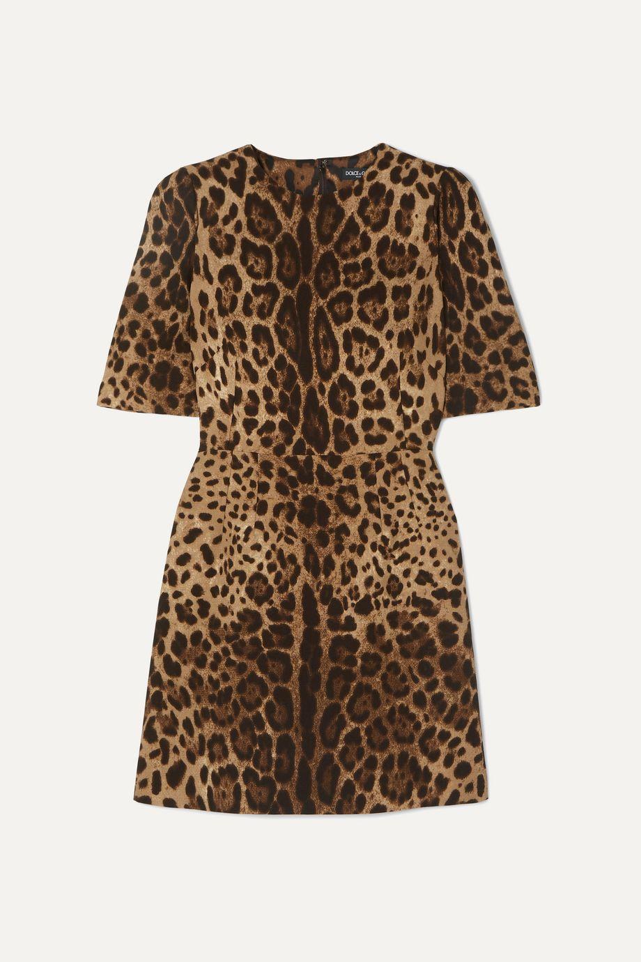 Dolce & Gabbana Leopard-print wool-crepe mini dress