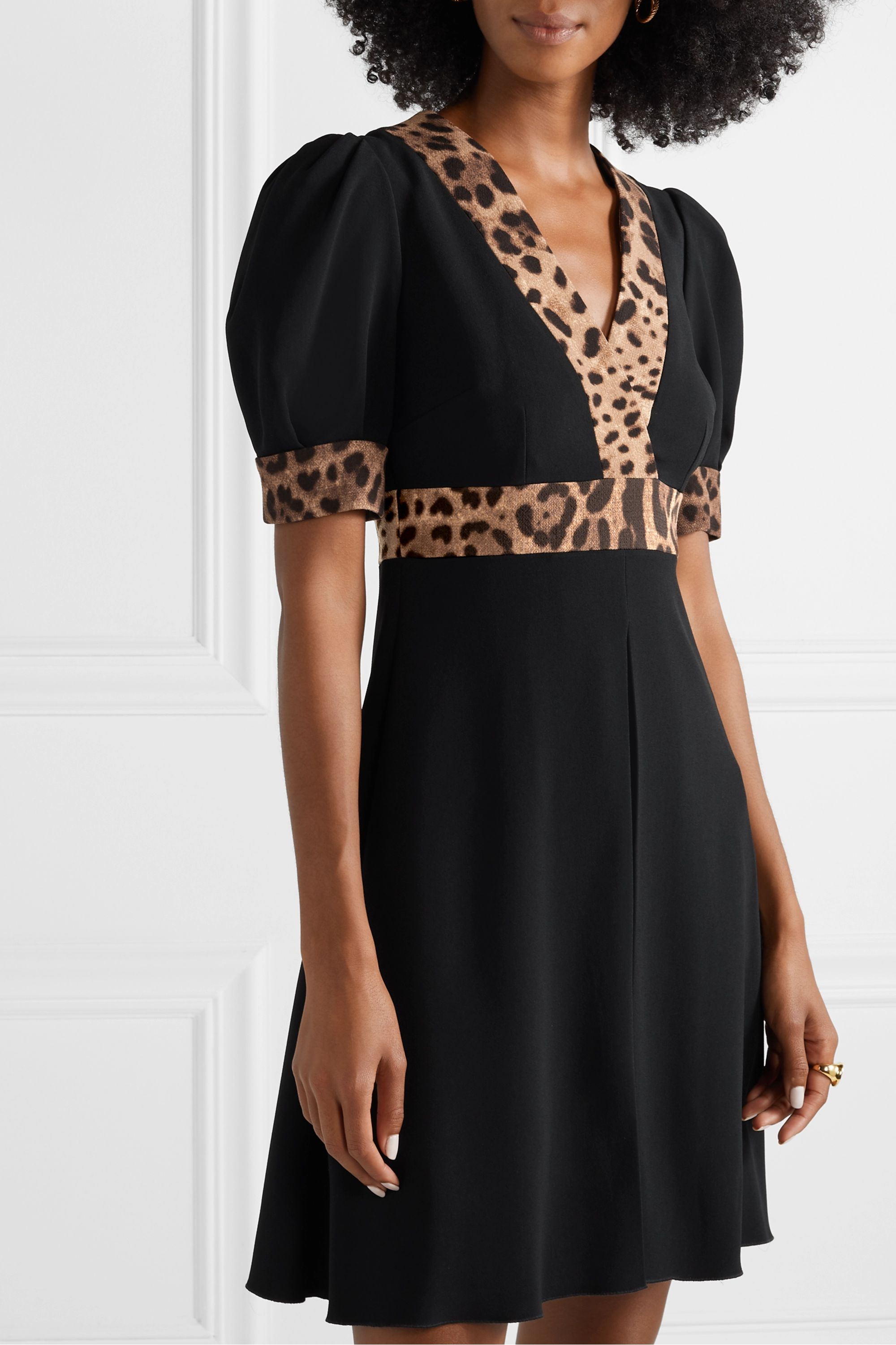 Dolce & Gabbana Wrap-effect leopard print-trimmed crepe mini dress