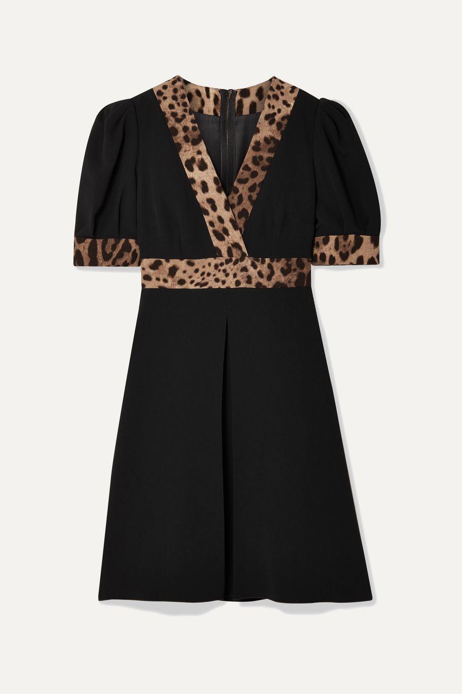 Dolce & Gabbana Minikleid aus Crêpe mit Wickeleffekt und Besatz mit Leopardenprint