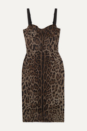 Dolce & Gabbana Satin-trimmed leopard-print cotton and silk-blend tulle dress