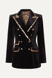 Dolce & Gabbana Leopard-print satin-trimmed cotton and silk-blend velvet blazer