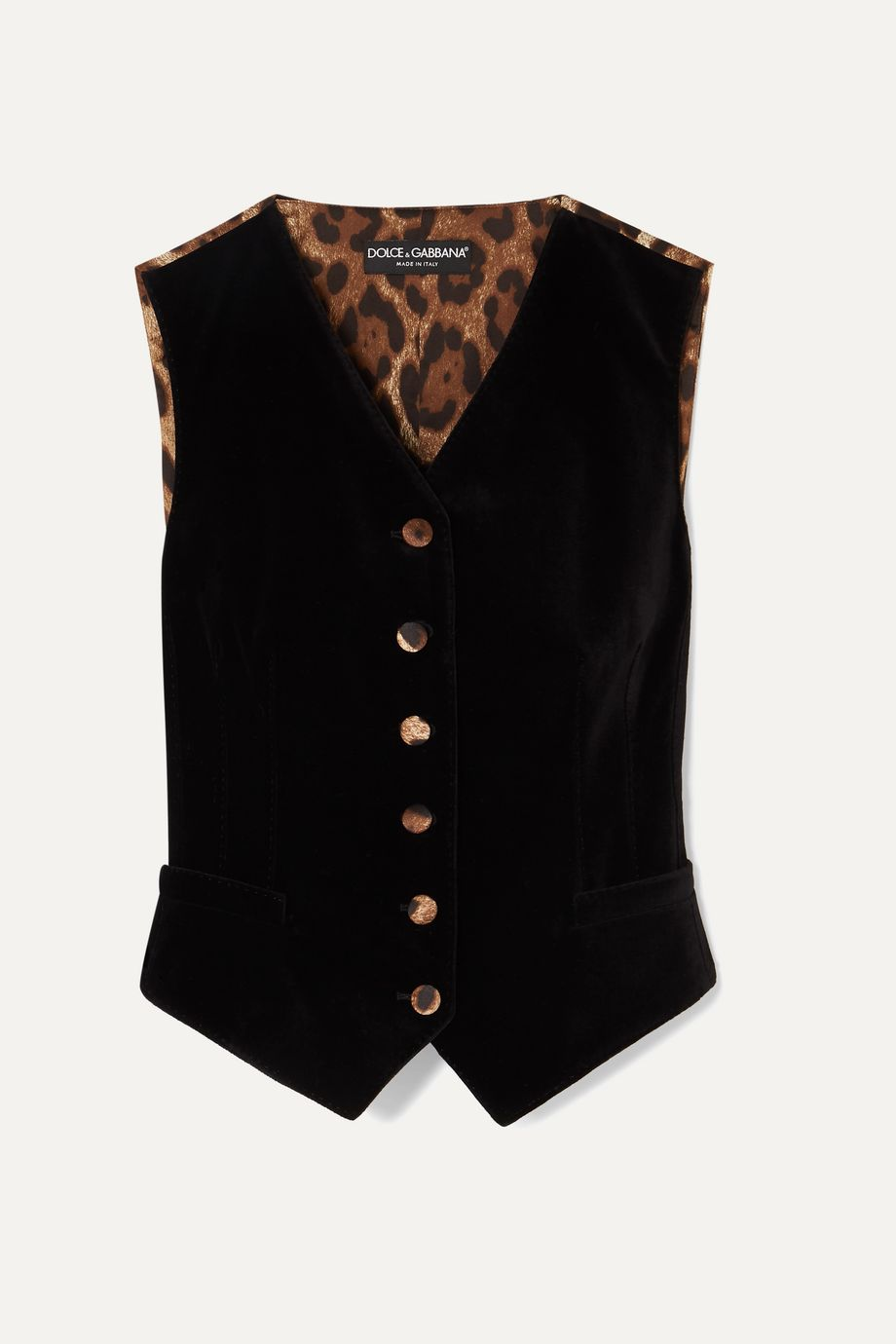 Dolce & Gabbana Cotton-blend velvet and leopard-print satin vest