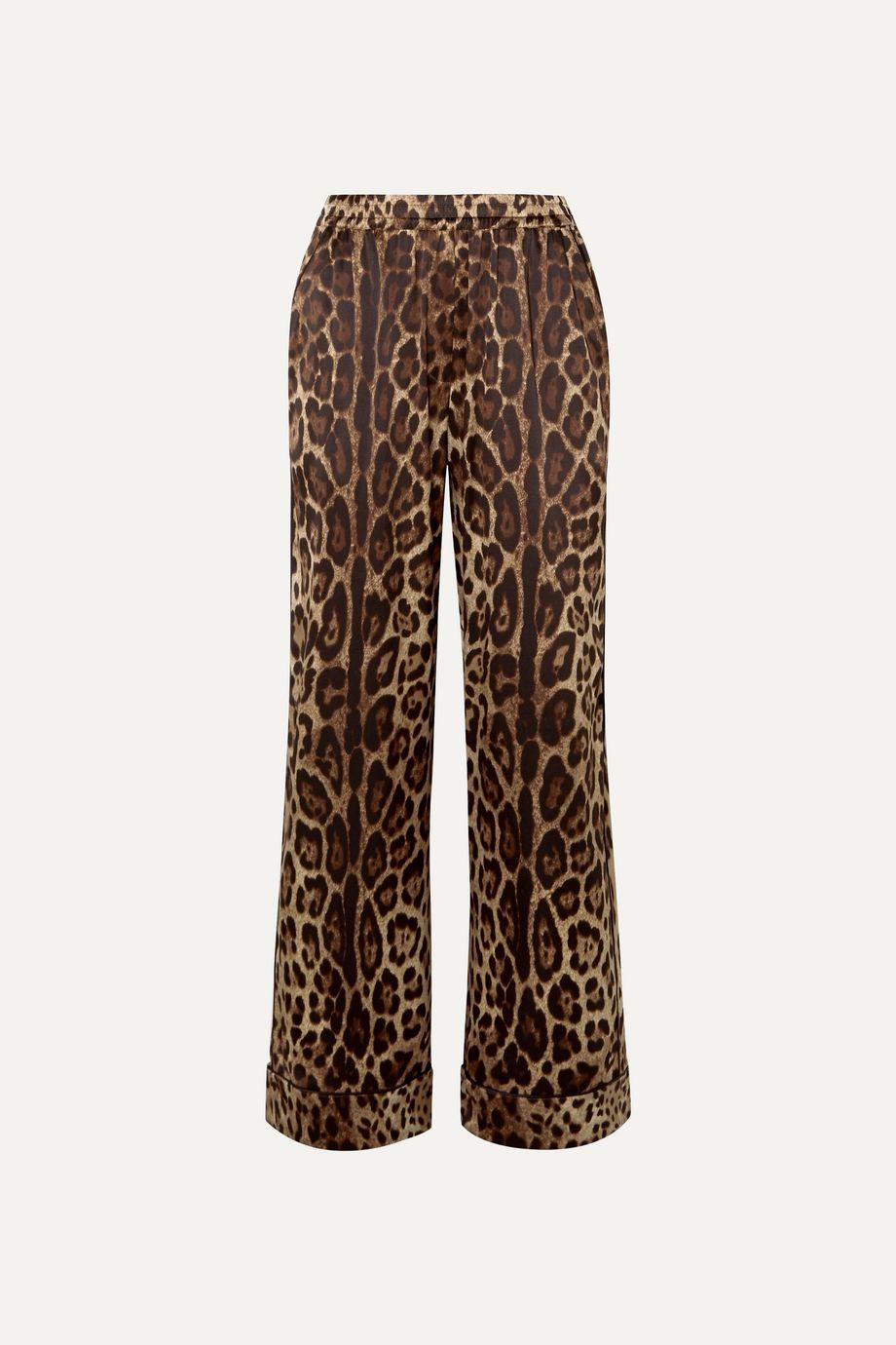 Dolce & Gabbana Leopard-print stretch-silk satin wide-leg pants