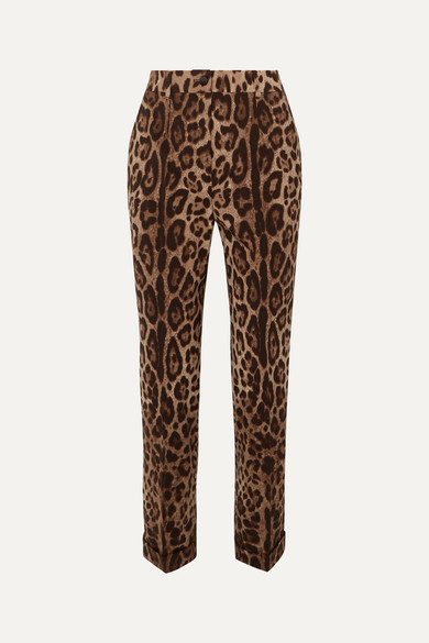 Leopard Print Wool Blend Straight Leg Pants by Dolce & Gabbana