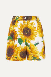Floral-print cotton-poplin shorts