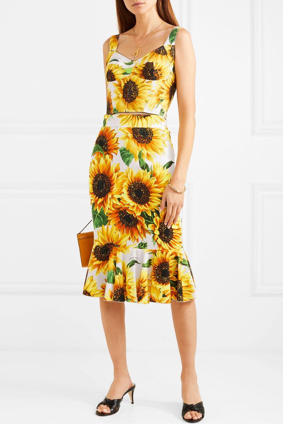 Dolce & Gabbana Fluted floral-print silk-blend crepe de chine midi skirt