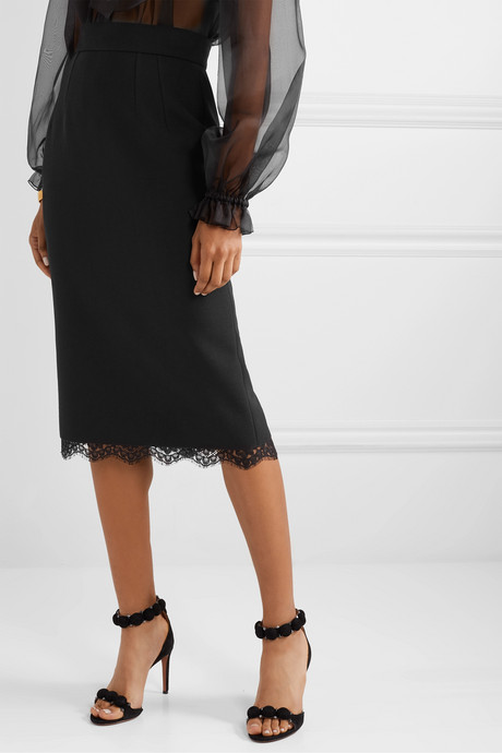 Lace-trimmed cady skirt
