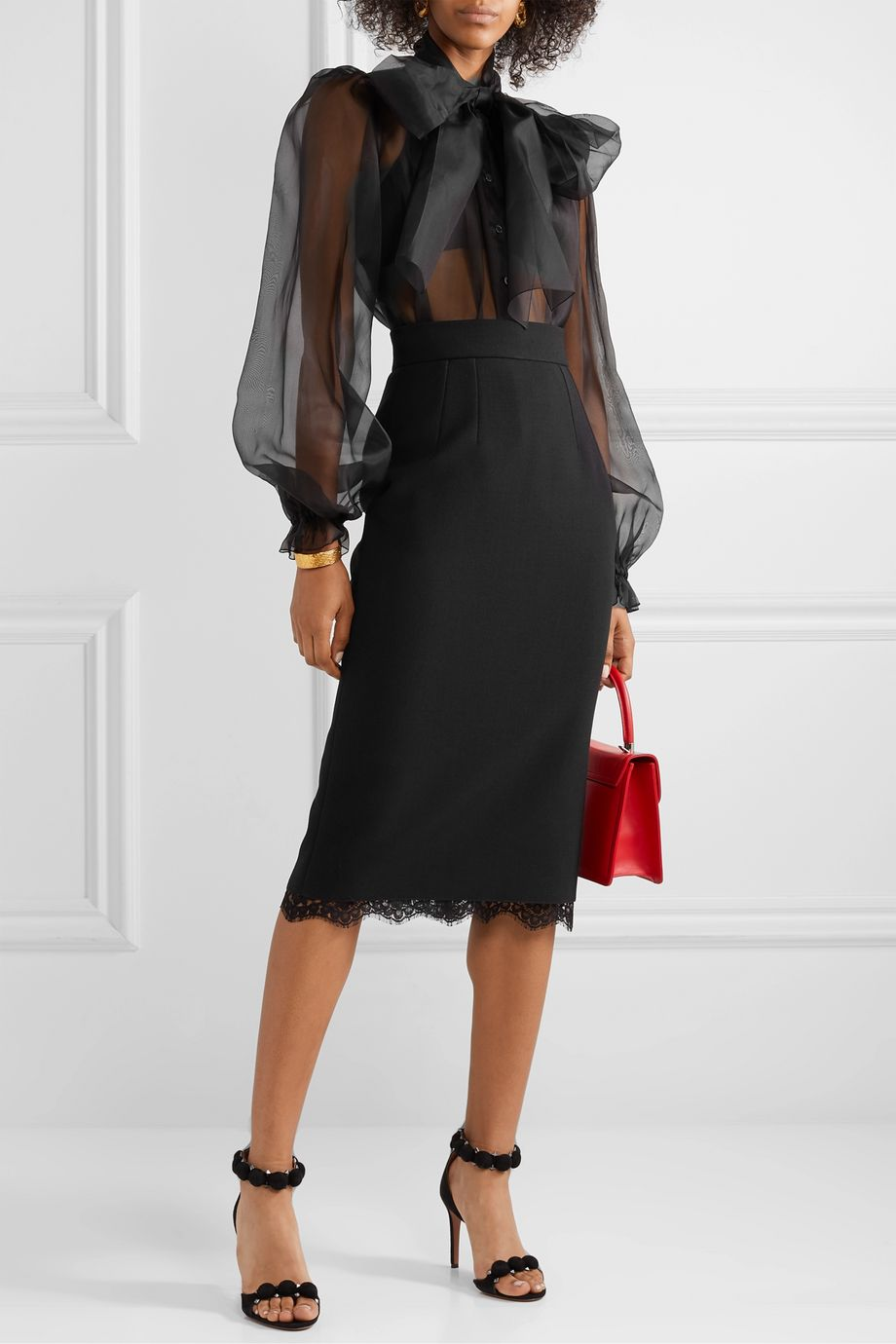 Dolce & Gabbana Lace-trimmed cady skirt