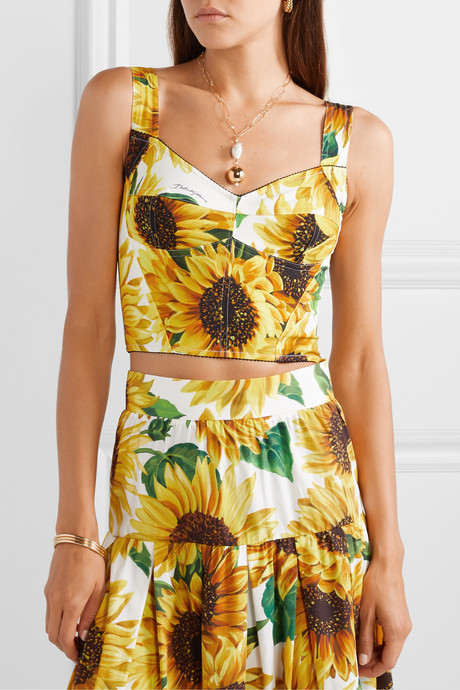 Cropped floral-print cady bustier top