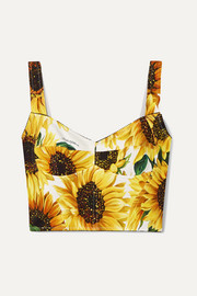 Dolce & Gabbana Cropped floral-print cady bustier top