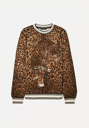 Dolce & Gabbana Stretch silk-trimmed leopard-print cotton-jersey sweatshirt