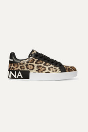 Dolce & Gabbana Logo-embellished leopard-print leather sneakers