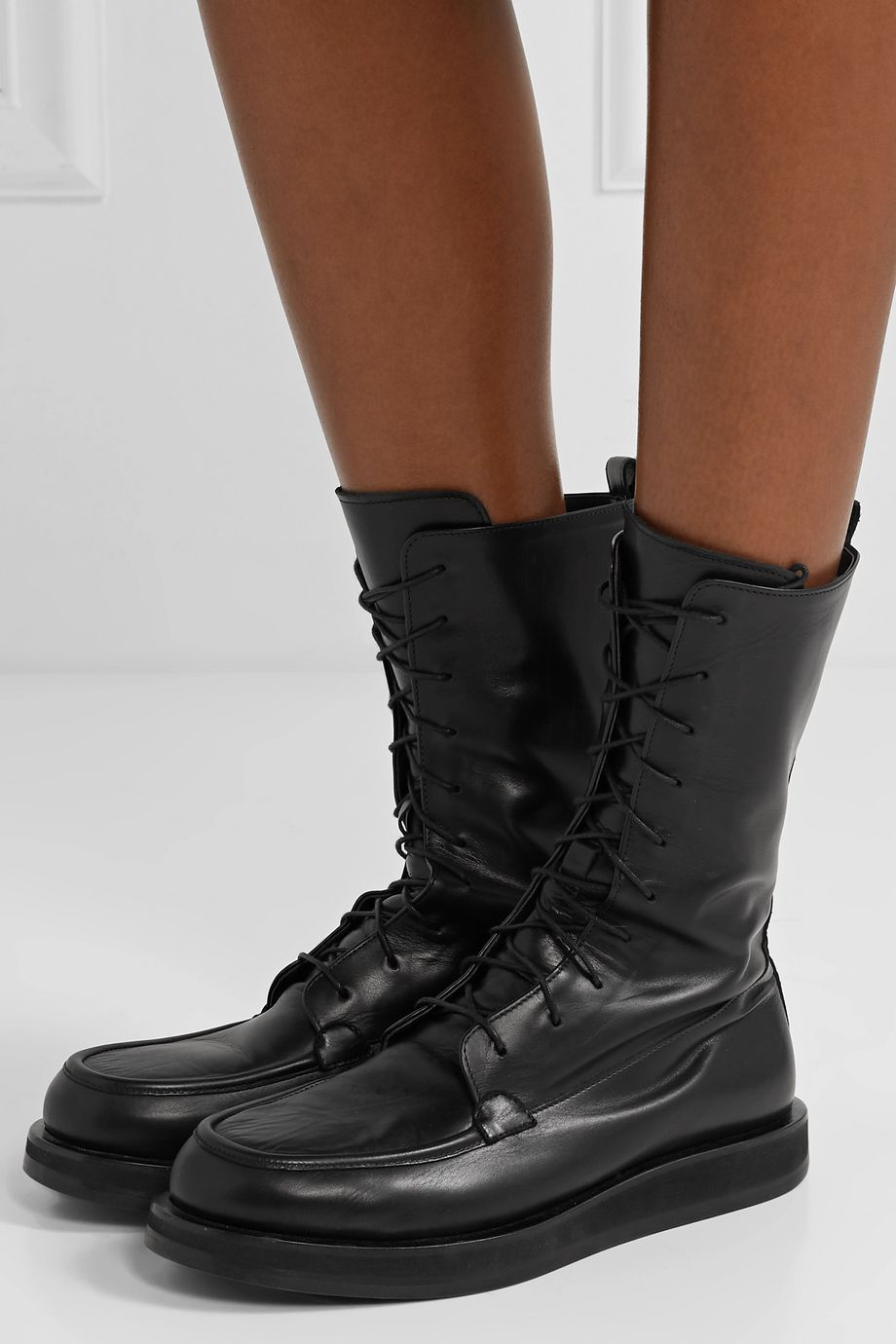 The Row Patty lace-up leather ankle boots