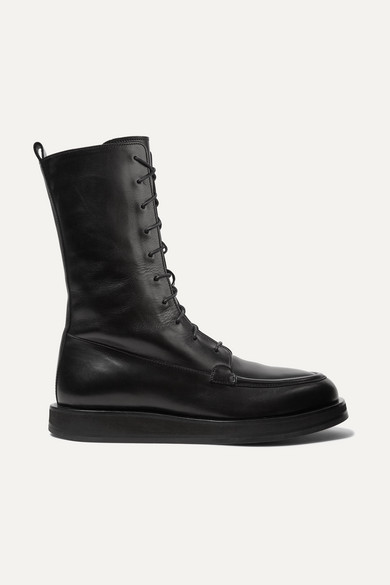 THE ROW | The Row - Patty Lace-Up Leather Ankle Boots - Black | Goxip
