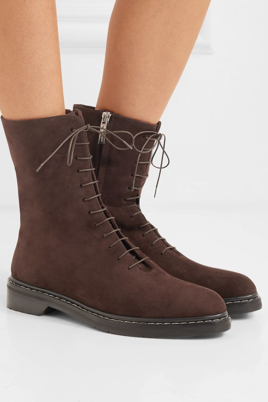 The Row Fara suede ankle boots