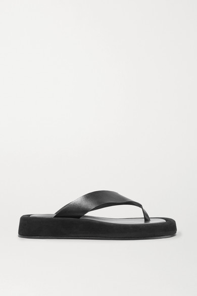 Ginza Leather And Suede Platform Flip Flops by The Row