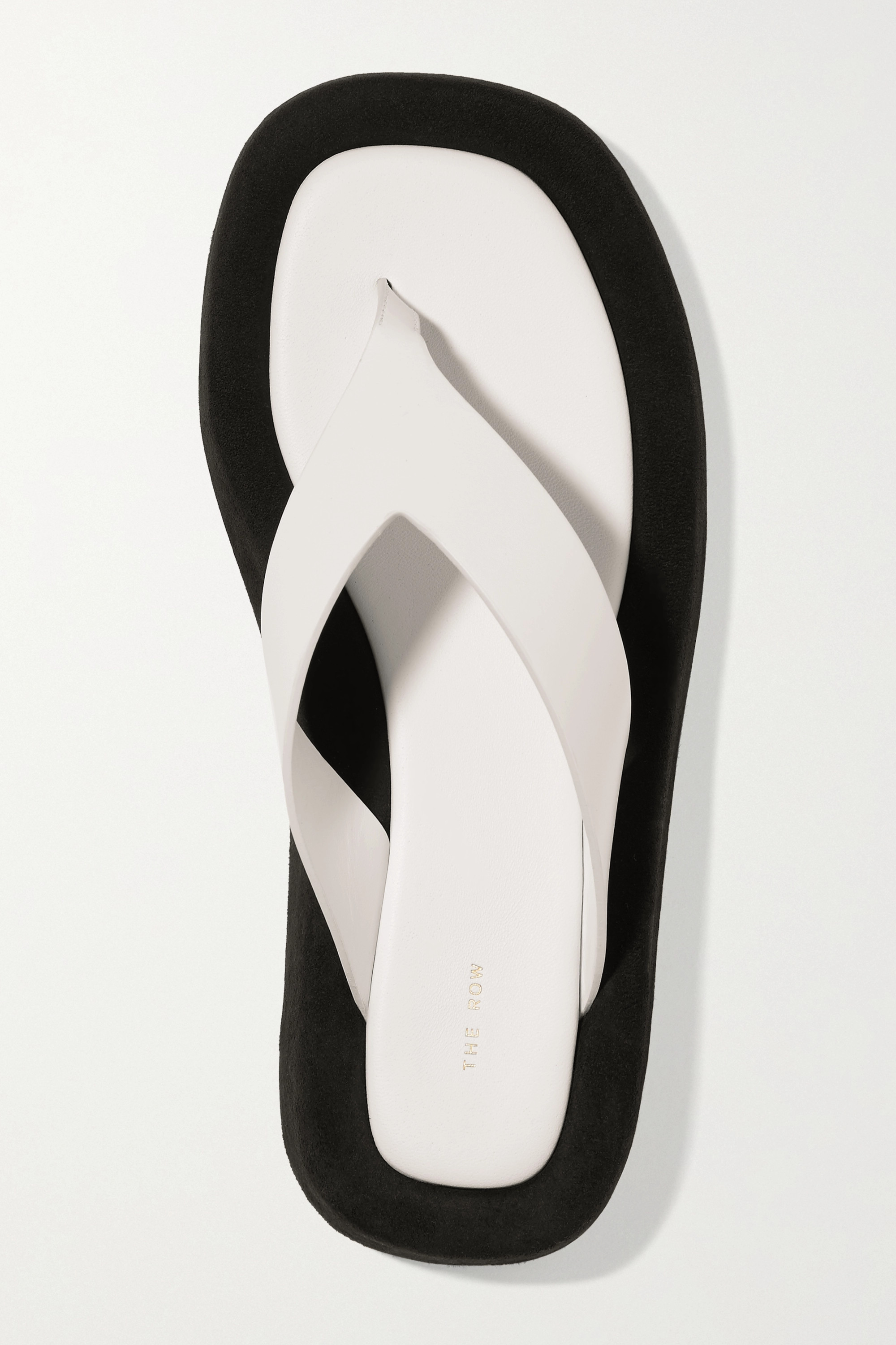 The Row Ginza two-tone leather and suede platform flip flops