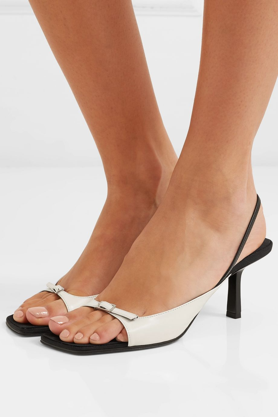 The Row Two-tone leather slingback sandals