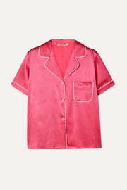 Morgan Lane Katelyn piped silk-blend charmeuse pajama shirt