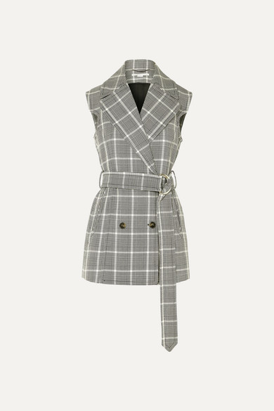 Belted Prince Of Wales Checked Wool Vest by Stella Mc Cartney
