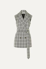 Stella McCartney Belted Prince of Wales checked wool vest
