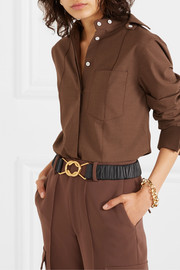 Ruched leather belt