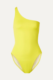 Norma Kamali Mio one-shoulder neon swimsuit