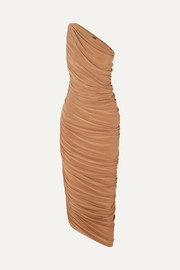 Norma Kamali Diana one-shoulder ruched stretch-jersey midi dress