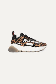 Stella McCartney Eclypse Sneakers aus Velourslederimitat mit Animalprints, Cut-outs und Logo