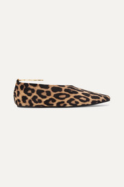 Stella McCartney Embellished leopard-print faux suede point-toe flats