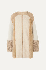 Stella McCartney Oversized patchwork faux fur and faux shearling coat