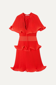 Stella McCartney Tiered ruffled plissé-satin mini dress