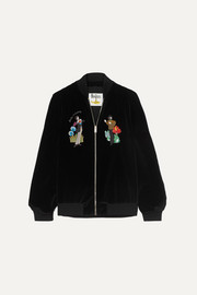 Stella McCartney + The Beatles embroidered cotton-velvet bomber jacket